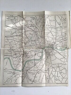 Old Original Vintage Outline Road and Railway Map Of London, 1935