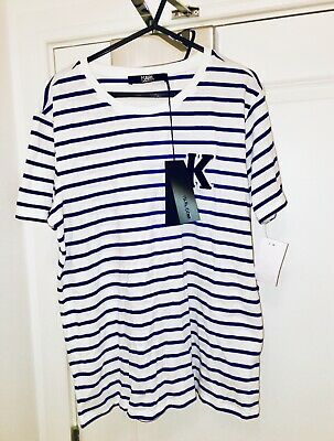 Karl Lagerfeld towel patch t-shirt white/blue size L cotton brand new