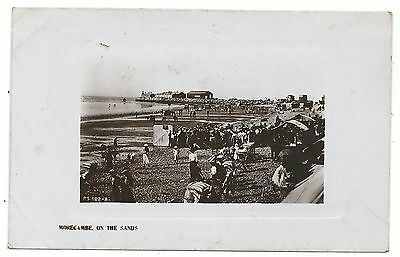 LANCASHIRE - MORECAMBE, ON THE SANDS Real Photo Postcard