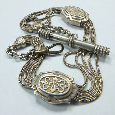 Superb Antique French Silver Albertina Watch Chain x 5, Slides & T Bar Key 33g