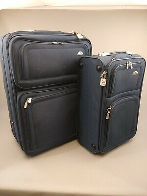 Samsonite Canvas Nesting Suitcase 2 Piece Set Blue - One Checked - One Carry On