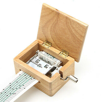 15 Tone DIY Hand-cranked Music Box Wooden Box With Hole Puncher And Paper Tapes