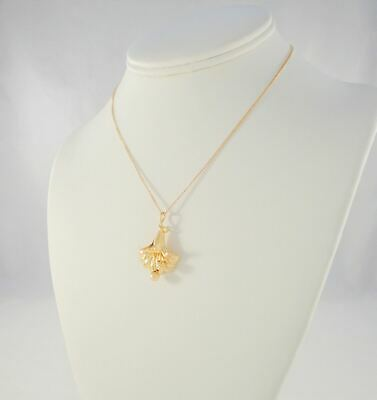 LRG VTG 40s WALTER LAMPL 10K SOLID YELLOW GOLD DETAILED REPOUSSE FLOWER NECKLACE