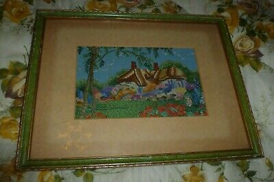 Vintage original 1930's hand embroidery tapestry picture