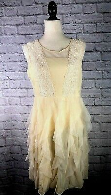 853cd3d26dc6 Anthropologie RYU Light Yellow Cream Lace Tiered Tulle Dress Size L NWT