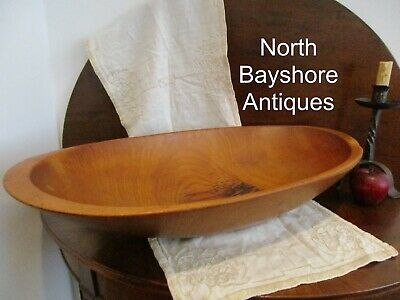 Antique 1800s New England Tiger Maple Wood Huge Hewn Trencher Dough Bowl aafa