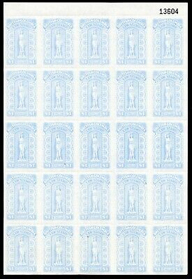Weeda British Columbia BCL63 VF MNH pane of 25 Law Stamp Revenues CV $7,812.50