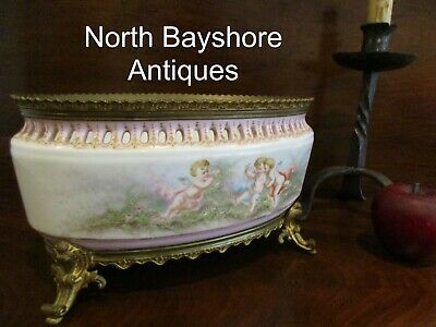 Antique 1800s French Sevres Ormolu Bronze Mounted Porcelain Center Bowl Signed
