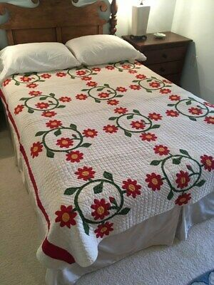 """Antique """"Rose of Sharon"""" Applique Quilt, Red, Green and Cheddar, #18539"""