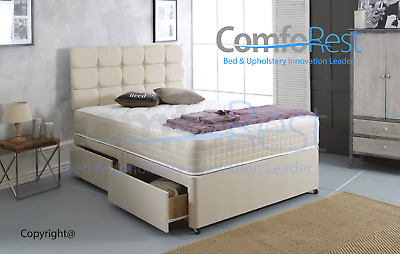 """Complete Divan Bed Set WITH Memory Sprung Mattress and CUBED 24"""" HEADBOARD - UK"""