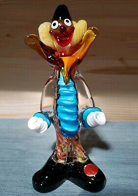 "Vintage Murano Multi-Color Art Glass Clown Figurine, 7 7/8"" Tall x 2 7/8"" Widest"