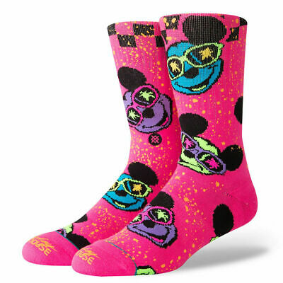 Disney Mickey Mouse 90Th Surprise Party New Pink Multi Color Stance Crew Socks