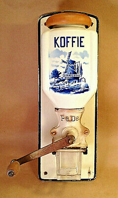 Vintage Wall Mount Hand Crank Coffee Mill Delft PeDe