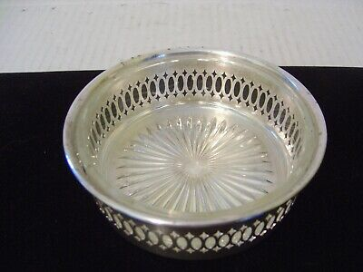 Vintage Silver Plated Pierced Wine Coaster With Glass Insert