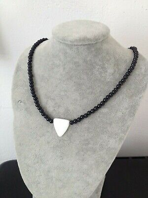 Black Pearl Beaded Ethnic style Choker Necklace with Silver Extension Chain