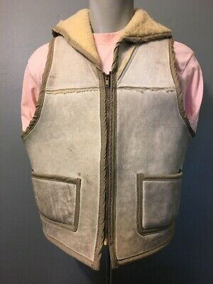 Vtg Leather Suede Sheepskin Shearling Fleece Vest Mens L Hunting Western Zip Up