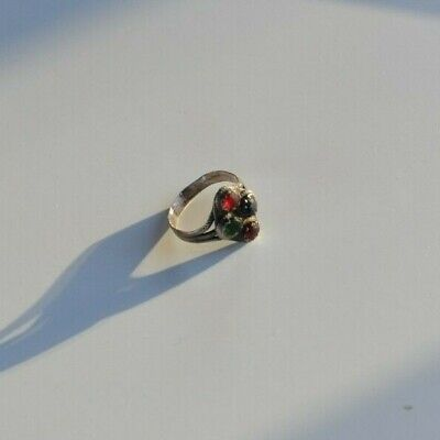 Antique Medieval woman silver ring with colored Roman Glass cabochons