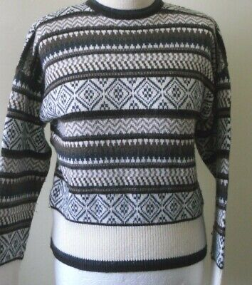 VTG 70s 80s JUMPER St Michael M & S Fair Isle Nordic Brown Cream Ski Sz 12