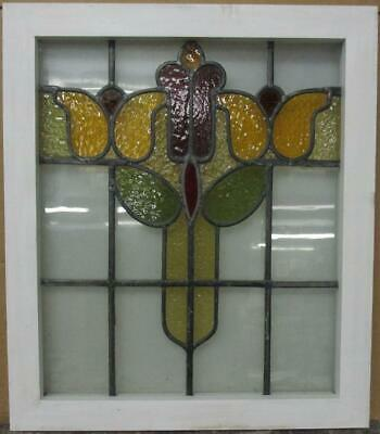 "MID SIZED OLD ENGLISH LEADED STAINED GLASS WINDOW Pretty Abstract 20.5"" x 23.75"""