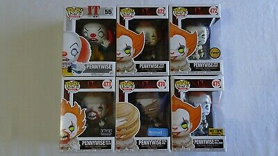 Funko POP IT Pennywise Bundle Lot Set Of 6 WITH BRAND NEW POP PROTECTORS