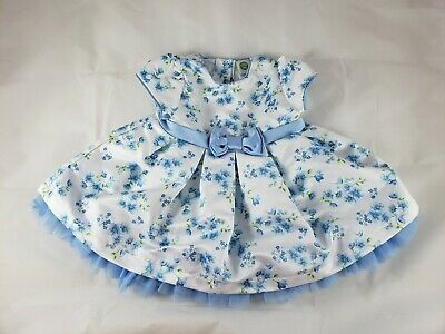 Baby Girls Little Me White Blue Bird Floral Satin Bow Tulle Easter Dress 6 Month