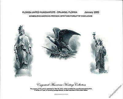 B265 FUN 2003 BEP Souvenir Card Freedom, Statue of Liberty, Eagle Mint