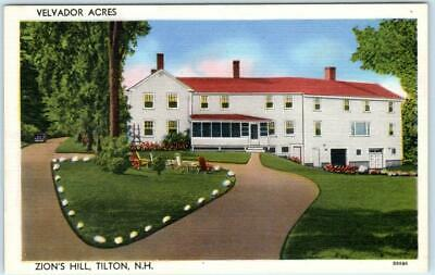 TILTON, New Hampshire NH  Zion's Hill   VELVADOR ACRES ca 1940s Linen Postcard