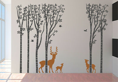 Wall Art Decal - Large Woodland Tree Theme with Deer, Vinyl Wall Decoration