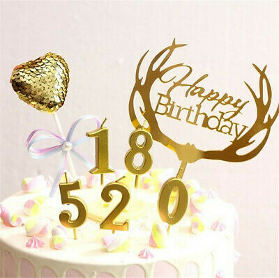 Creative Gold Number 0-9 Happy Birthday Cake Candles Topper Decor Party Supplies
