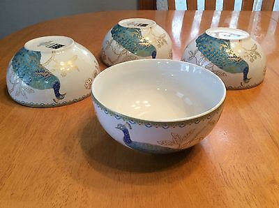 222 Fifth Peacock Garden Soup, Cereal Bowls. Set Of 4. Beautiful Porcelain. New