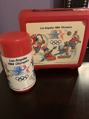 Aladdin 1984 Los Angeles Olympic Plastic Lunchbox And Thermos