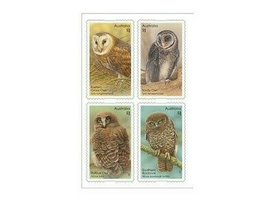 2016 Owls, 4 P&S FRANKED ON PAPER Australian Stamps