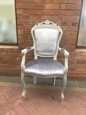 French Style Bedroom Chair In Grey Crushed Velvet