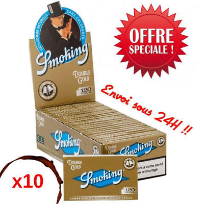 Lot de 10 Carnets de 120 Feuilles à Rouler Smoking Gold Regular - Promo !!