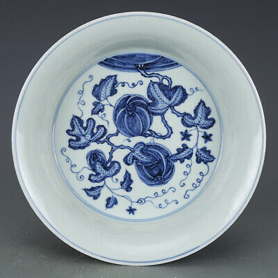 Nice Chinese Ming Blue White Porcelain Melon and Fruit Plate