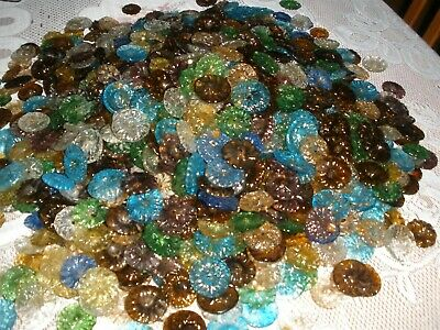 """200 Vintage Carved color Glass Beads Flowers for chandelier parts up to 1.5"""""""