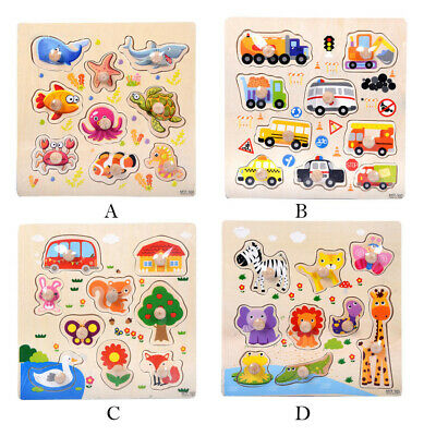 9 Piece Wooden Animal Puzzle Jigsaw Early Learning Baby Kids Educational Toys