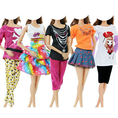 5 Set Fashion Outfits Blouses Pants Skirt Accessories Clothes for 11.5 inch Doll
