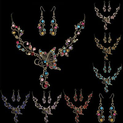 Vintage Boho Crystal Butterfly Womens Necklace Earrings Wedding Jewellery Set