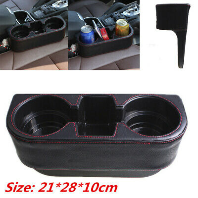 Black PU Car Cup Drink Holder Seat Gap Mount Storage Box Phone Coins Organizer