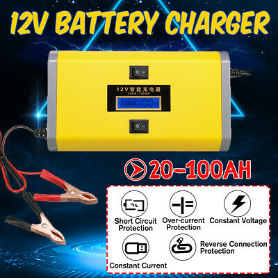 12V 8A Pulse Repair Charger For Car Motorcycle AGM GEL WET Lead Acid Battery LCD