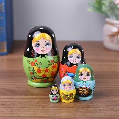 5Pcs/set Cute Babushka Nesting Dolls Matryoshka Wooden Russian Painted Toy Gift