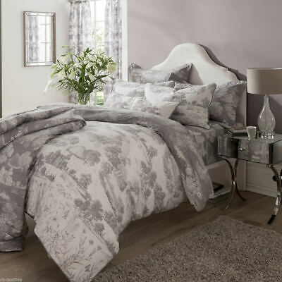 Kew Gardens Toile 100% Cotton Percale Extra Deep Fitted Sheet Grey