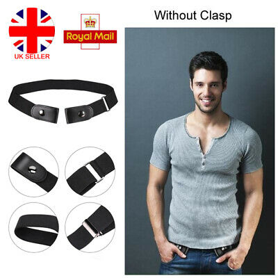Mens Women Buckleless Invisible Belt Elastic Jeans Convenient Comfort Waistband