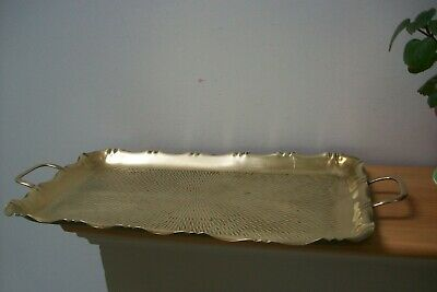 Vintage French Brass tray wtih scalloped edge oblong serving 30