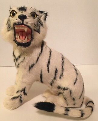Fierce White Snow Tiger Cat Toy Animal Figure Collectible