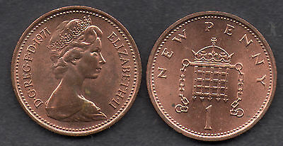 1p 1 Pence One Penny Coin UK Decimal Collectable Currency 1971  B/U Key Date