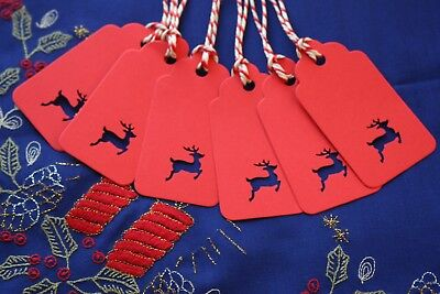 20 Stag Reindeer Christmas Tags, Price Labels With Twine, Name Cards