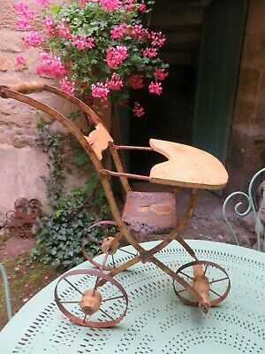 FABULOUS ORIGINAL ANTIQUE FRENCH TOY PUSH CHAIR  ~ PERIOD DISPLAY ~  1800's