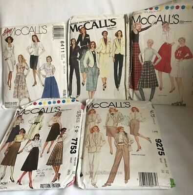 Lot Of 5 Vintage McCall's Sewing Patterns 1980's